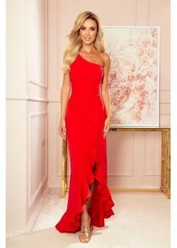 317-1 Długa suknia hiszpanka na jedno ramię - CZERWONA Numoco MyButik.pl - kod rabatowy