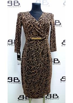Kopertowa, krótka sukienka Ivett B&b Studio okazyjna cena B&B Studio - kod rabatowy