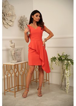 Sukienka Victoria pomarańcz - z asymetryczną baskinką Marconi MyLittleHeaven - kod rabatowy
