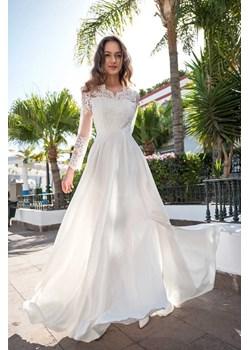 Sukienka Paula biała(ecru) - długa, ślubna z koronkową górą i długim rękawem Marconi MyLittleHeaven - kod rabatowy