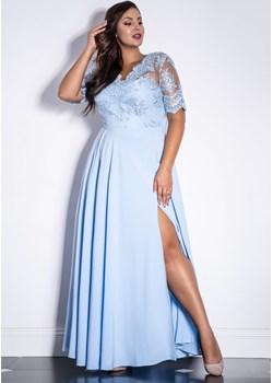 Sukienka Paula błękitna - długa koronkową górą  Marconi MyLittleHeaven - kod rabatowy