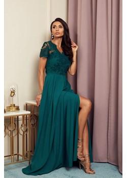 Sukienka Paula butelkowa zieleń - długa z koronkową górą i krótkim rękawkiem Marconi MyLittleHeaven - kod rabatowy