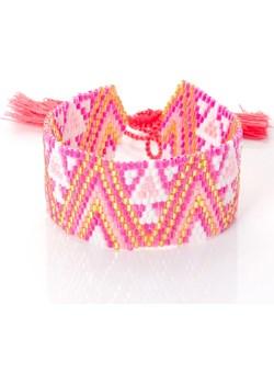 Różowa bransoleta boho tkana z koralików z bordowym wzorem  Peani Peani.pl - kod rabatowy