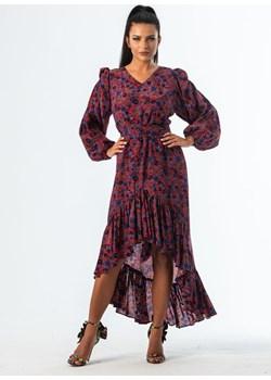 BARCELONA - jedwabna sukienka z falbaną   My Image Art - kod rabatowy