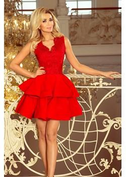 200-4 CHARLOTTE - ekskluzywna sukienka z koronkowym dekoltem - CZERWONA Numoco promocja PATINA Fashion Boutique - kod rabatowy