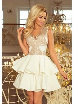 200-1 CHARLOTTE - ekskluzywna sukienka z koronkowym dekoltem - ZŁOTY/BEŻOWY + ECRU Numoco okazyjna cena PATINA Fashion Boutique - kod rabatowy