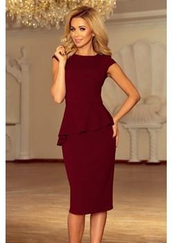 192-6 Elegancka sukienka MIDI z baskinką - BORDOWA Numoco wyprzedaż PATINA Fashion Boutique - kod rabatowy