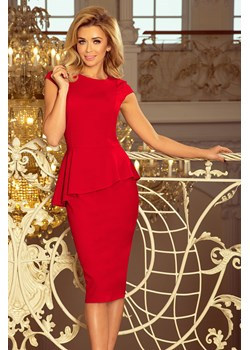 192-5 Elegancka sukienka MIDI z baskinką - CZERWONA Numoco PATINA Fashion Boutique okazyjna cena - kod rabatowy
