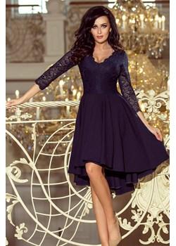 210-2 NICOLLE - sukienka z dłuższym tyłem z koronkowym dekoltem - GRANATOWA Numoco promocja PATINA Fashion Boutique - kod rabatowy