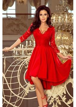 210-6 NICOLLE - sukienka z dłuższym tyłem z koronkowym dekoltem - CZERWONA Numoco okazja PATINA Fashion Boutique - kod rabatowy