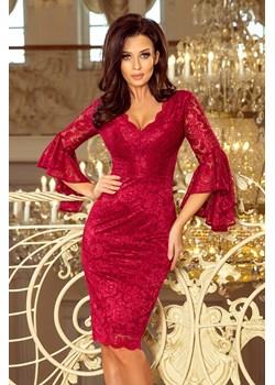 234-1 Koronkowa sukienka z rozkloszowanymi rękawkami - BORDOWA Numoco PATINA Fashion Boutique promocyjna cena - kod rabatowy