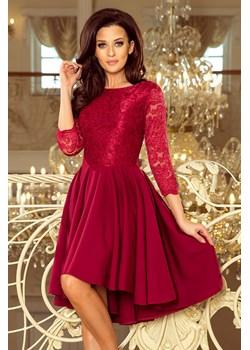 231-1 OLIVIA - sukienka z dłuższym tyłem i koronką - BORDOWA Numoco okazja PATINA Fashion Boutique - kod rabatowy