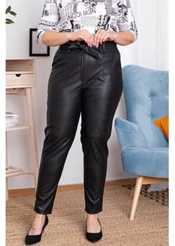 Spodnie ŻANETA eko skóra eleganckie wiązane czarne PROMOCJA okazja karko.pl - kod rabatowy
