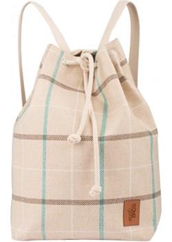 Materiałowy plecak-worek, kolor beżowy w kratkę Mebags wyprzedaż me&BAGS - kod rabatowy