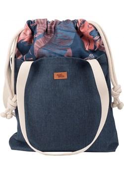 """Torebka worek """"DUOBAG"""" materiałowa, kolor granatowy w kwiaty Me&Bags   - kod rabatowy"""
