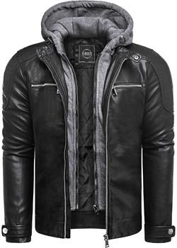 Męska kurtka skórzana JP1148- czarna Risardi Risardi - kod rabatowy