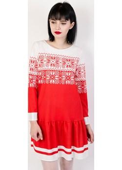 Biało czerwona sukienka z motywem świątecznym Olika  olika.com.pl - kod rabatowy