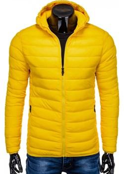 Kurtka męska jesienna pikowana 465C - żółta Edoti.com Edoti.com - kod rabatowy