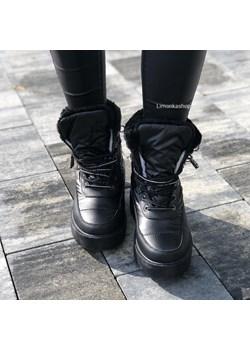 Czarne buty zimowe ocieplane - matowe śniegowce HOLA * Limonka Limonkashop.pl - kod rabatowy