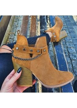 TYMOTEO 2880 KARMELOWE - Kowbojki z wycięciem  Tymoteo Tymoteo.pl - sklep obuwniczy - kod rabatowy