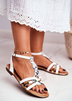 Damskie Sandałki Eleganckie Białe Wężowa Brooke Sea promocja POLSE.PL - kod rabatowy