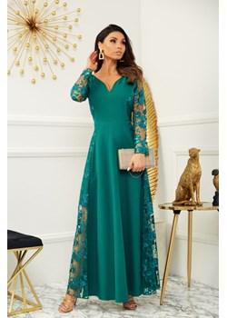 Sukienka Pamela butelkowa zieleń - długa z koronkowymi wstawkami Marconi MyLittleHeaven - kod rabatowy