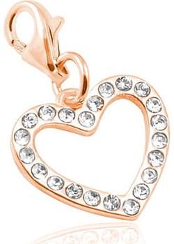 Srebrny Charms do bransoletek Serce z kryształkami Swarovski®  - Rose Gold Lian Art Lian Art - kod rabatowy
