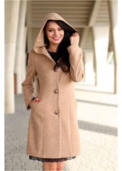 Klasyczny flauszowy płaszcz z kapturem, z dodatkiem wełny d064   okazja butik-choice  - kod rabatowy
