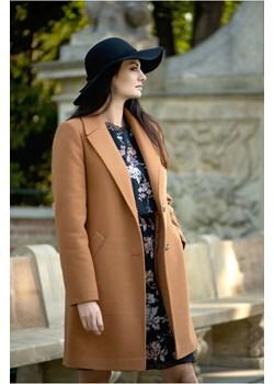 Prosty płaszcz z dodatkiem wełny, Cyntia camelowy butik-choice - kod rabatowy