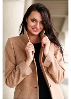 Klasyczny flauszowy płaszcz z kołnierzem i klapkami, z dodatkiem   wyprzedaż butik-choice  - kod rabatowy