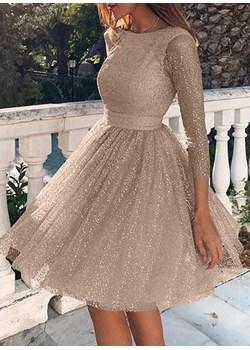 Długi rękaw mini przed kolano casual dekolt prosty z koła pas plisy brokat impreza wieczór sylwetser wesele Camille sukienka (S) Sukienka promocja sandbella - kod rabatowy