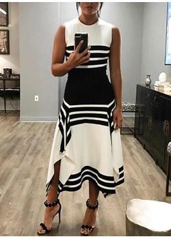 Bez rękawów asymetryczna paski geometryczna midi na wieczór kobieca Amy sukienka (S) Sukienka sandbella okazyjna cena - kod rabatowy