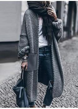 Dugi rękaw rozpinany kieszenie dłuższy płaszcz dzianina grubszy casual zima jesień Amelly sweter (S) Sweter sandbella okazyjna cena - kod rabatowy