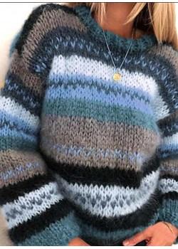 Długi rękaw dekolt prosty luźny boho paski dzianina jodełka basic paski ciepły na co dzień casual ciepły Cherry sweter (S) Sweter sandbella promocyjna cena - kod rabatowy