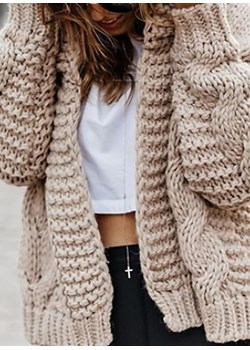 Długi rękaw rozpinany dzianina dłuższy ciepły casual jodełka na co dzień do pracy Noah sweter (S) Sweter okazja sandbella - kod rabatowy
