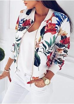 Długi rękaw bomberka wzór modna rozpinana ściągacz jesień kwiat liść egzotyczne Sunny kurtka (S) Kurtka okazja sandbella - kod rabatowy
