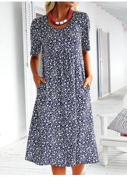 100989-DARK-BLUE (S) Sukienka okazja sandbella - kod rabatowy