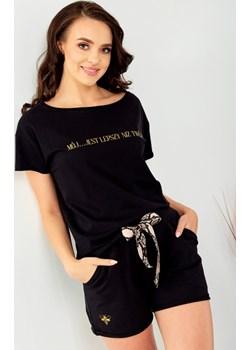 Bawełniany T- shirt z nadrukiem - czarny Beewear - kod rabatowy