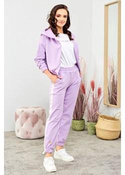 Bawełniany komplet z lampasami - liliowy Beewear - kod rabatowy