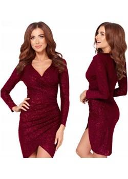 Sukienka z brokatem,  bordowa, błyszcząca okazja DAFNIS - kod rabatowy