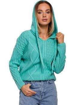 Kobiecy Sweter z Troczkami i Kapturem (Seledynowy) Moe Coco-fashion.pl  - kod rabatowy