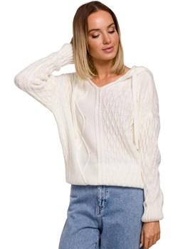 Kobiecy Sweter z Troczkami i Kapturem (Ecru) Moe Coco-fashion.pl  - kod rabatowy