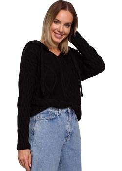 Kobiecy Sweter z Troczkami i Kapturem (Czarny) Moe Coco-fashion.pl  - kod rabatowy