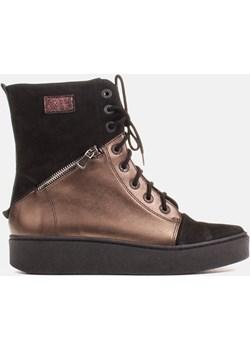Sportowe botki skórzane, złoto-czarne Marco Shoes  Milandi - kod rabatowy