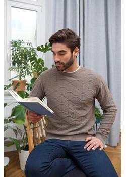 Sweter męski półgolf niski beżowy - regular Lanieri  Lanieri.pl - kod rabatowy