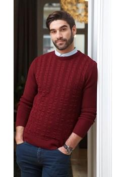 Sweter męski półgolf niski bordowy - regular  Lanieri Lanieri.pl - kod rabatowy