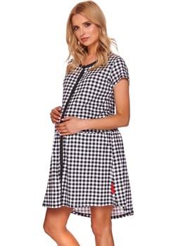Koszula nocna ciążowa w czarną kratkę 9444 Doctornap Piękny Brzuszek - kod rabatowy