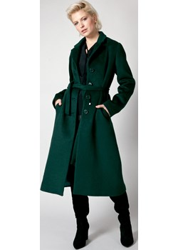 Jednorzędowy płaszcz z wełną wiązany w talii MOLTON Molton okazja Molton - kod rabatowy