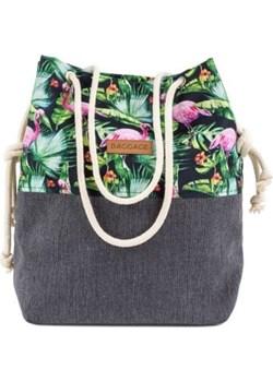 Torebka shopper różowe flamingi + szary len Baggage szary Recenogi.pl - kod rabatowy