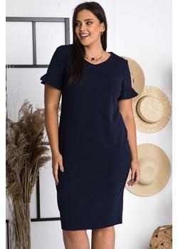 Sukienka ołówkowa letnia TERESA flamenco elegancka plus size granatowa   karko.pl - kod rabatowy